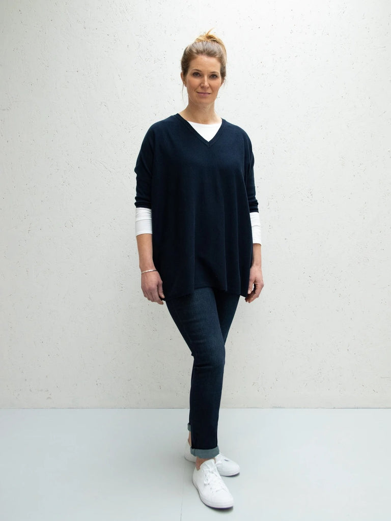 Chalk uk Clara V Neck in Navy