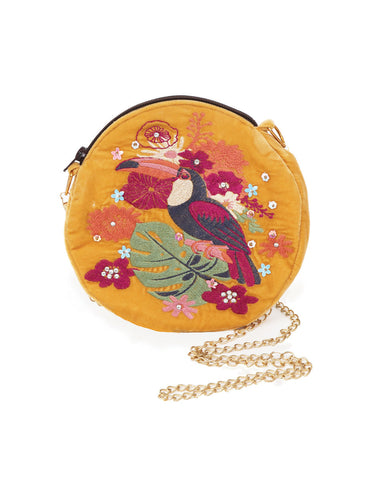 Powder velvet embroidered bag