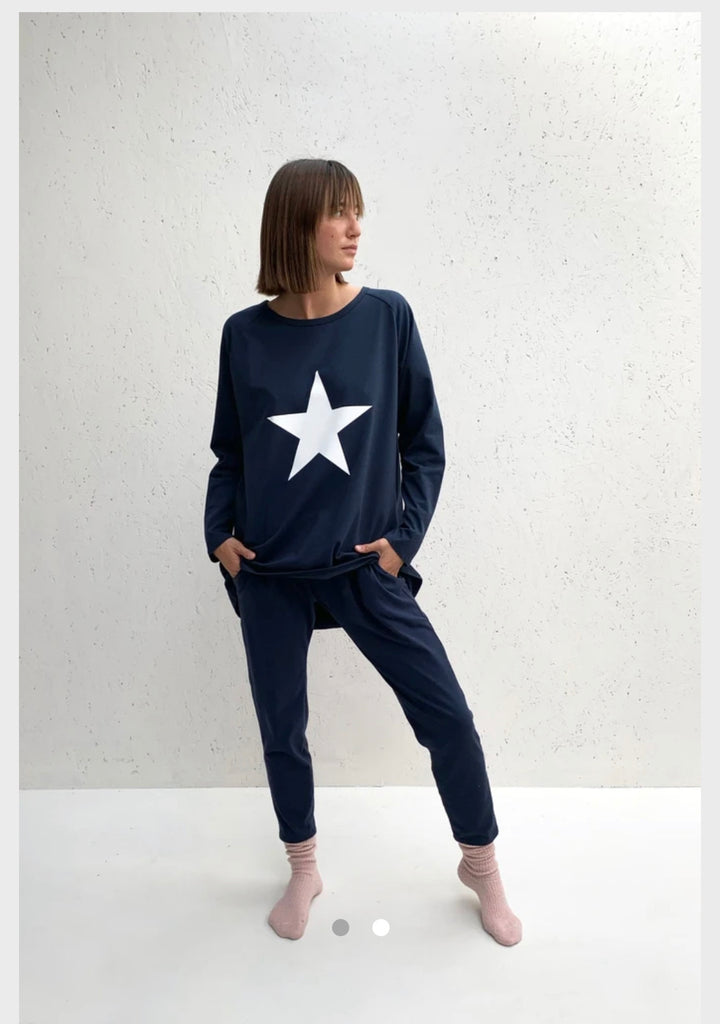 Robyn Top Navy Star Chalk