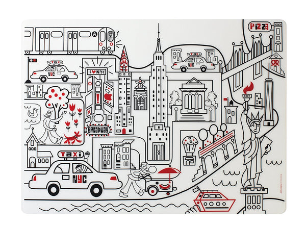 New York Silicone Coloring Placemat Set