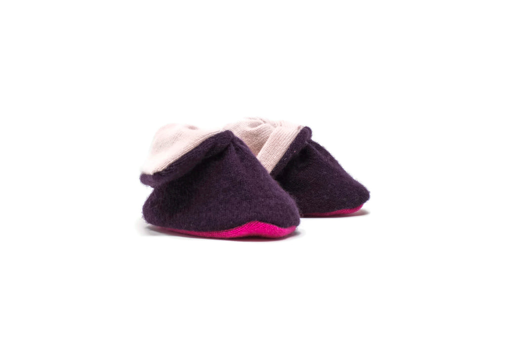 Cashmere Booties in Burgundy Hot Pink Bottom
