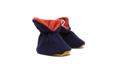 Cashmere Booties in Navy Mustard Bottom
