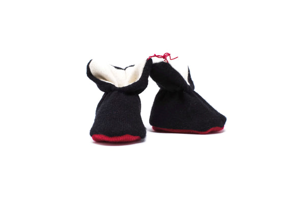 Cashmere Booties - Black/White/Red