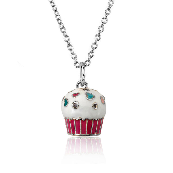 Vanilla Cupcake Necklace Silver Chain