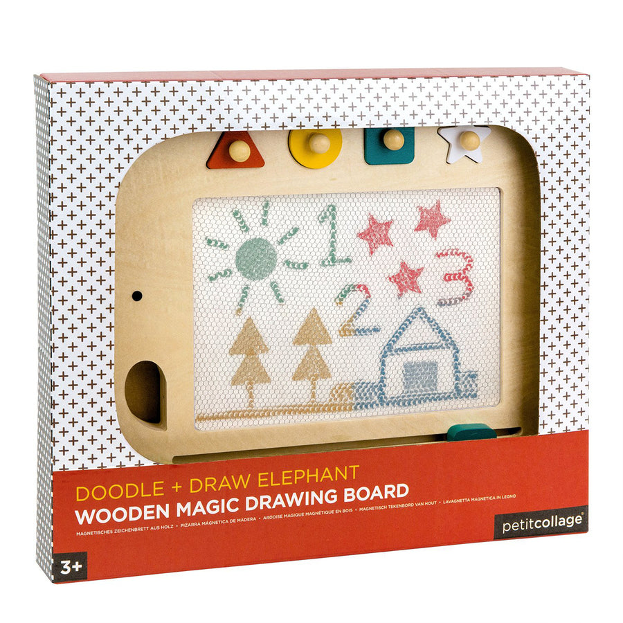 Doodle + Draw Elephant Wooden Magic Board