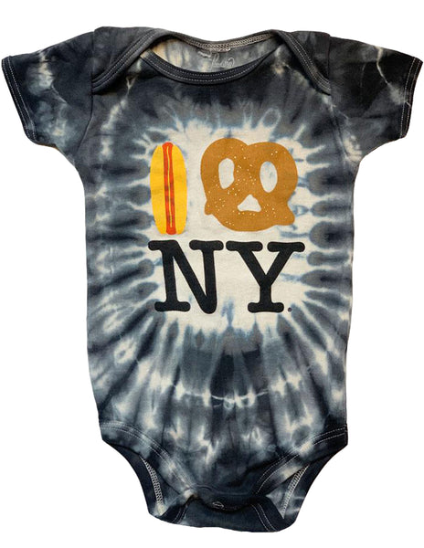 Tie Dye Hot Dog Pretzel NY Onesie - Stormy Black