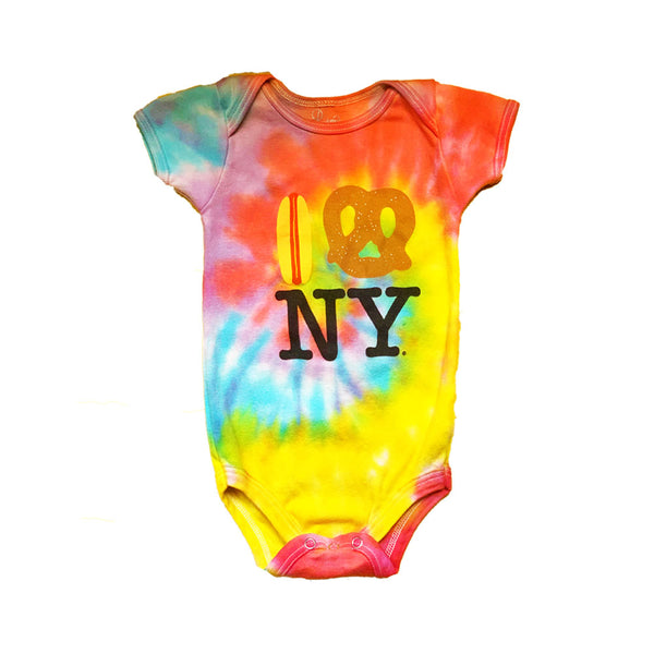 Tie Dye Hot Dog Pretzel NY Onesie in 100% Organic Cotton