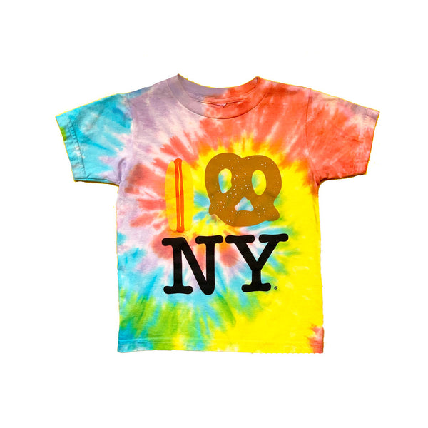 Tie Dye Hot Dog Pretzel NY Tee in Natural (Organic Cotton)