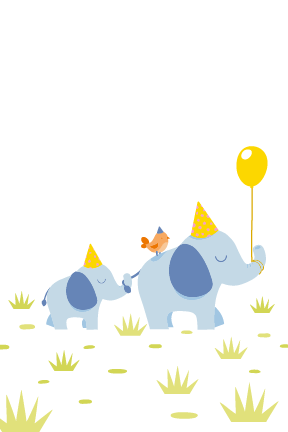 Elephant Birthday Party Card