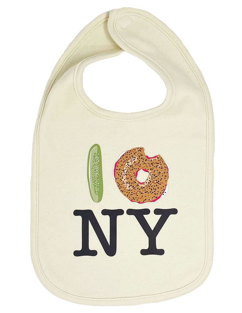 Pickle Bagel NY Drool Bib - Natural