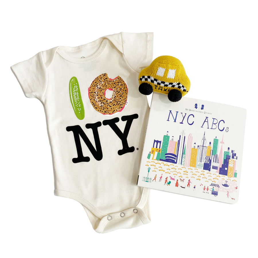 Newborn Gift Set: Pickle Bagel NY Onesie, Taxi Rattle, and Mr. Boddington's NYC ABCs Board Book