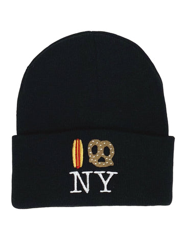 Hot Dog Pretzel NY  Beanie - Black