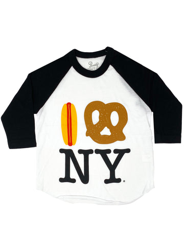 Hot Dog Pretzel NY Baseball Tee - Black