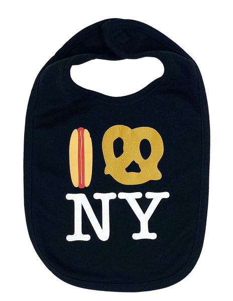 Hot Dog Pretzel NY Drool Bib - Black