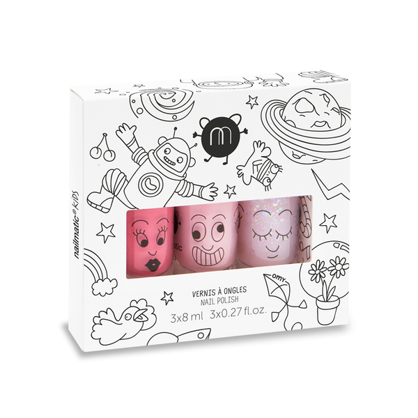 Cosmos Set of 3 Water Based Nail Polish / Cookie, Bella and Polly