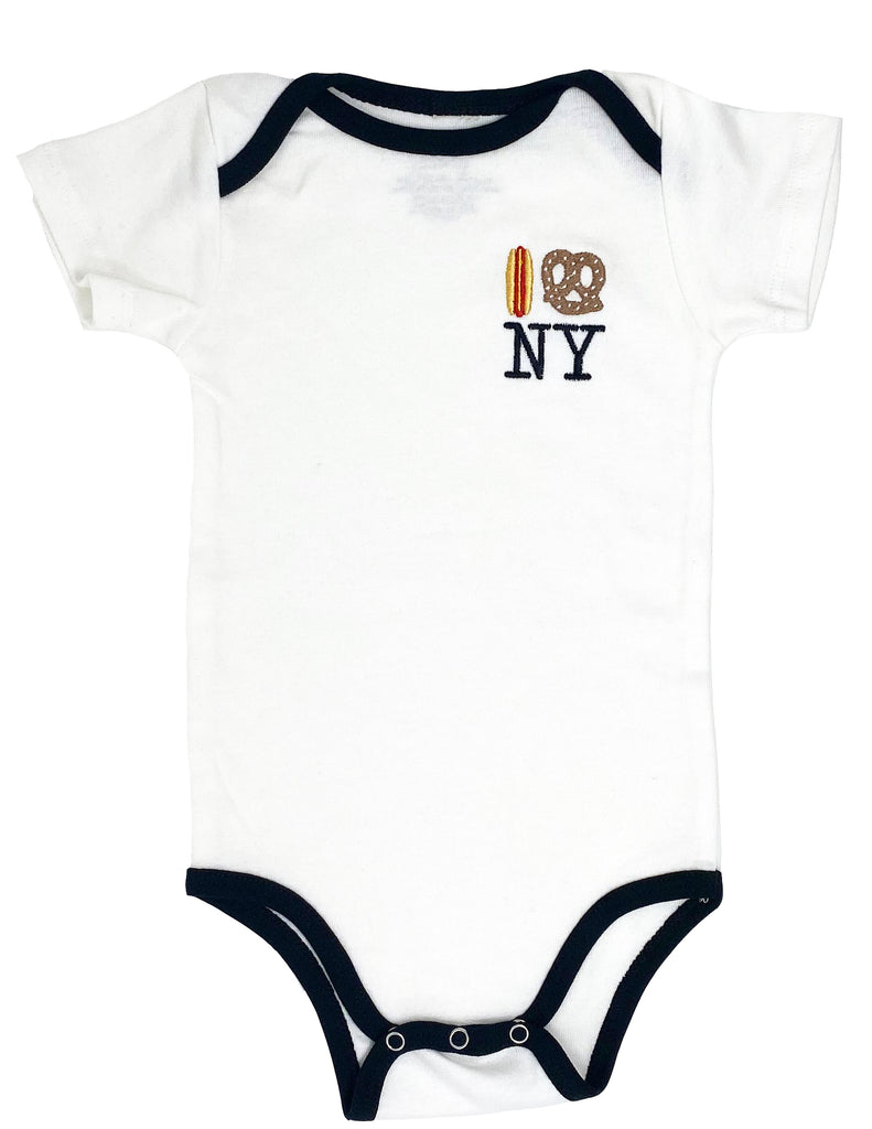 Embroidered Hot Dog Pretzel NY Onesie - White