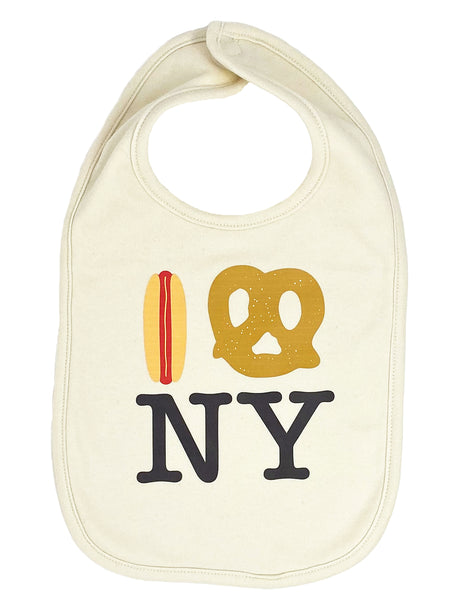 Hot Dog Pretzel NY Drool Bib - Natural