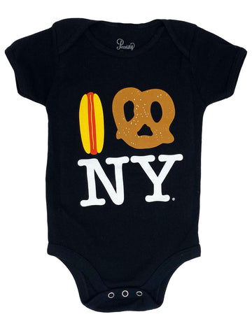 Hot Dog Pretzel NY Onesie - Black