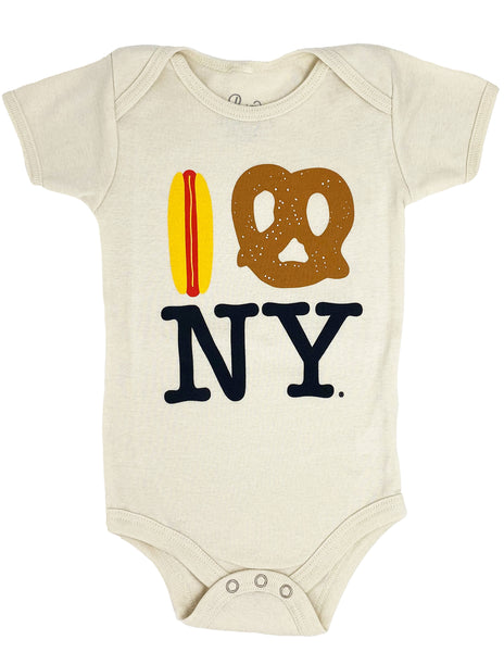 Hot Dog Pretzel NY Onesie - Natural