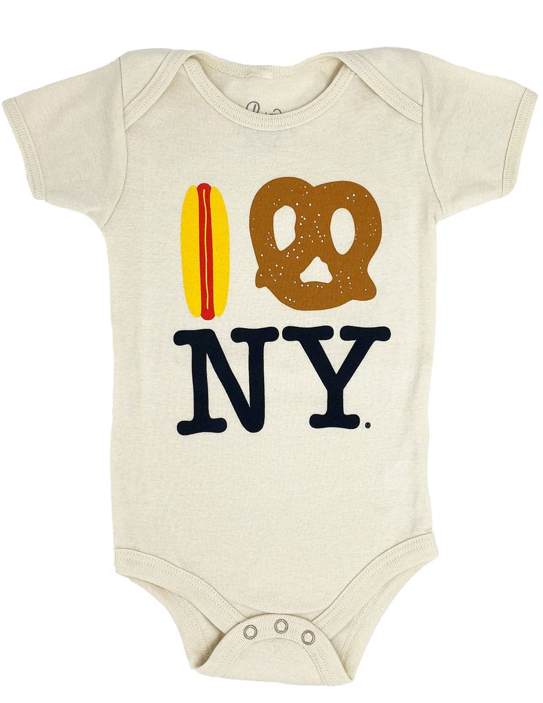 Newborn Gift Set: Hot Dog Pretzel NY Onesie, Hot Dog Rattle, My Little Cities: New York Board Book