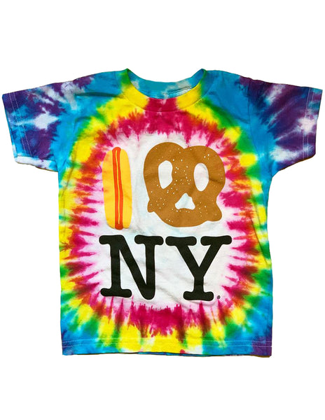 Tie Dye Hot Dog Pretzel NY Tee - Rainbow