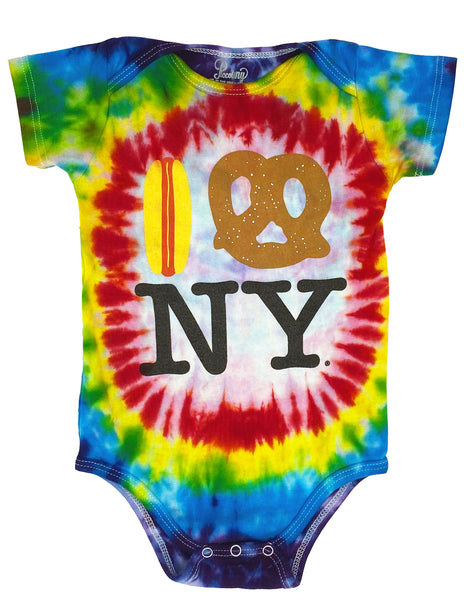 Tie Dye Hot Dog Pretzel Onesie - Rainbow FW19