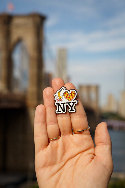 Lo Mein Pizza New York Enamel Pin