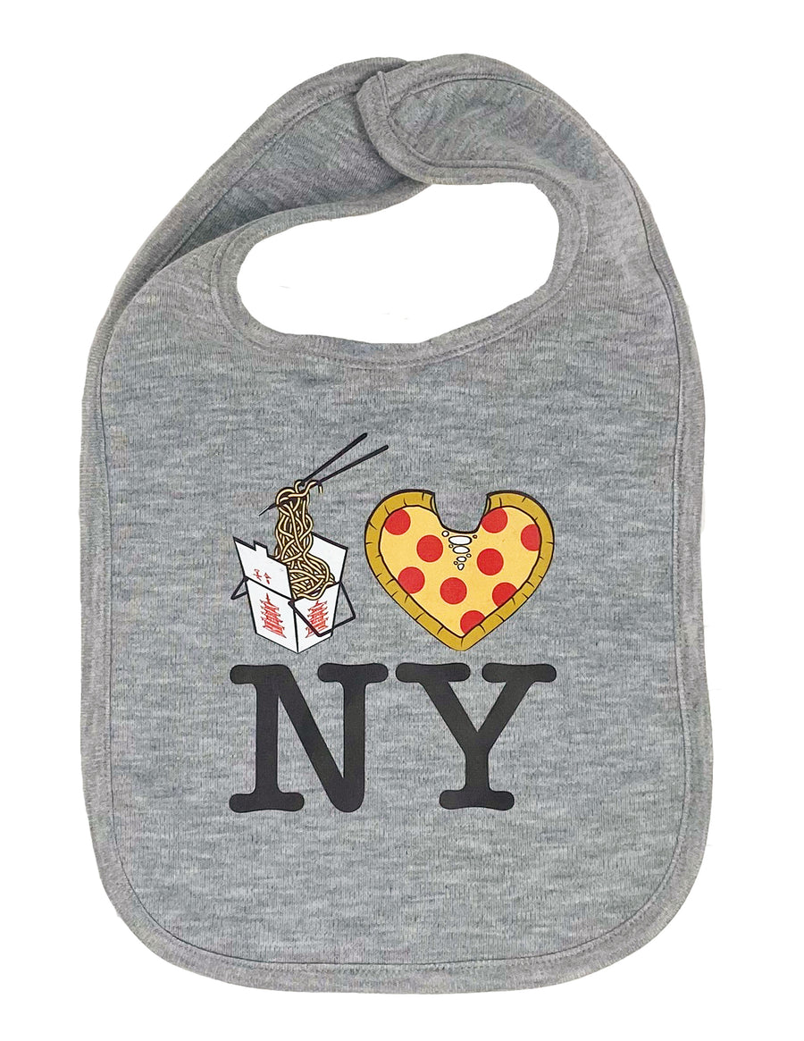 Lo Mein Pizza NY Drool Bib - Gray