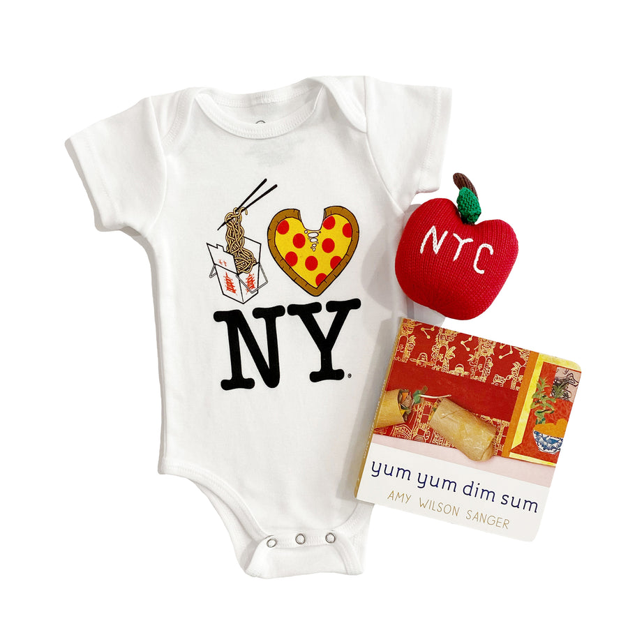 Newborn Gift Set: Lo Mein Pizza NY Onesie, Apple Rattle, and Yum Yum Dim Sum Board Book