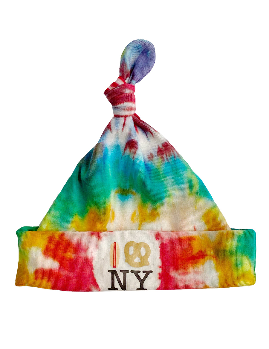 Hot Dog Pretzel NY Knot Hat - Tie Dye