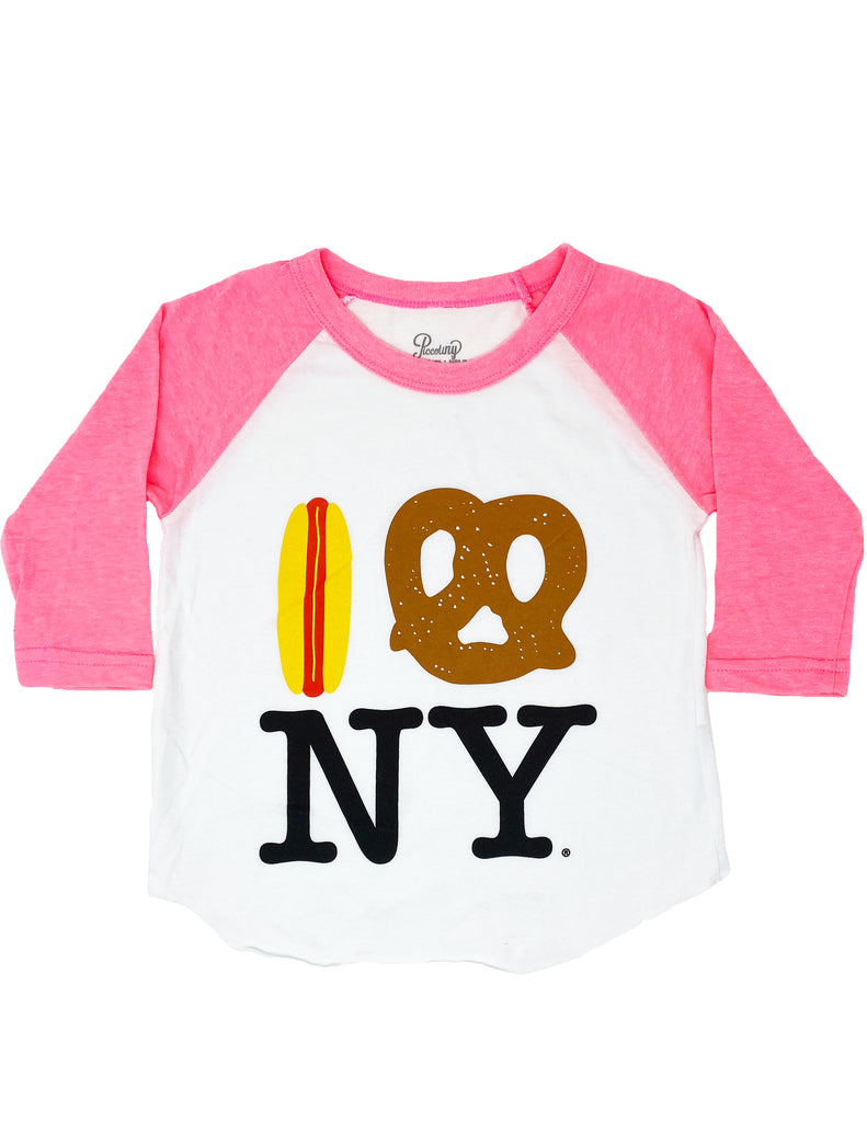 Hot Dog Pretzel NY Baseball Tee - Pink