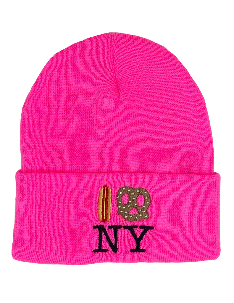 Hot Dog Pretzel NY Knit Beanie -Pink