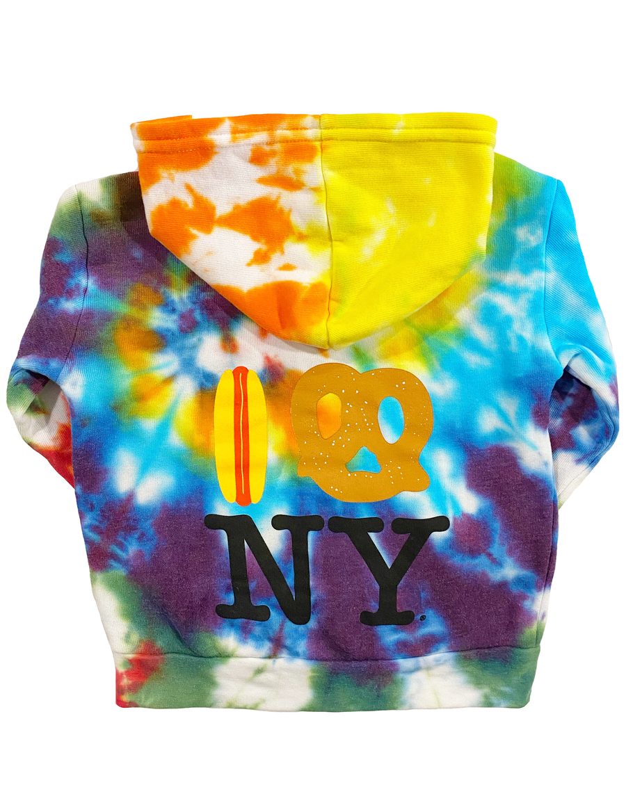 Embroidered Hot Dog Pretzel NY Rainbow Tie Dye Hoodie