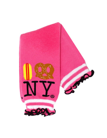 Hot Dog Pretzel NY Baby Leg Warmers - Pink