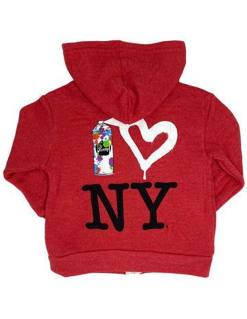 Spray Paint Heart NY Hoodie Little Sizes