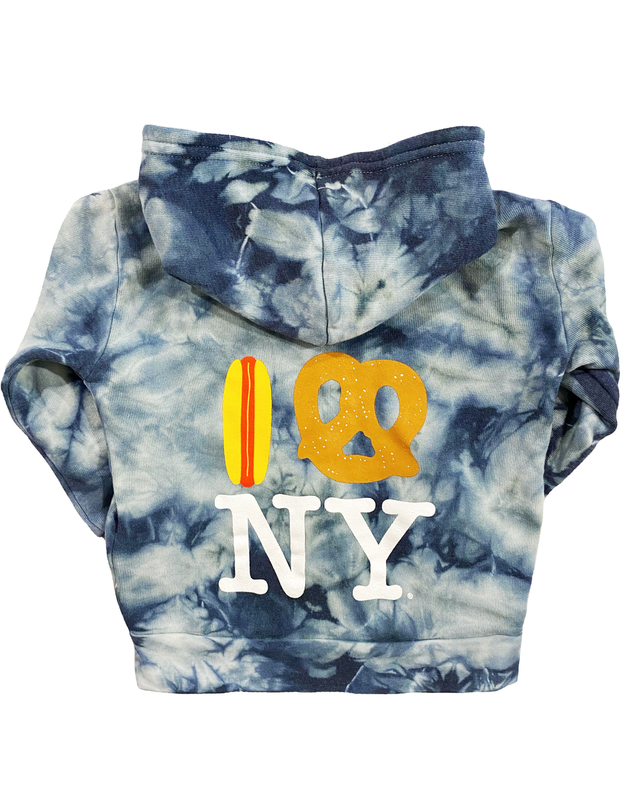 Embroidered Hot Dog Pretzel NY Stormy Tie Dye Hoodie