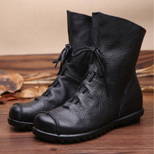 Load image into Gallery viewer, 2019 Vintage Style Genuine Leather Women Boots Flat Booties Soft Cowhide Women's Shoes Front Zip Ankle Boots zapatos mujer