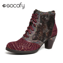 Load image into Gallery viewer, SOCOFY Retro Genuine Boots Leather Splicing Embossed Rose Lace Up Zipper High Heel Ankle Boots Women Shoes Botas Mujer 2019