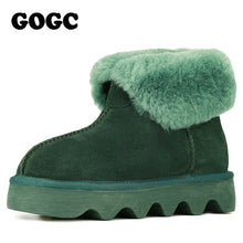Load image into Gallery viewer, GOGC 2018 Snowshoes Women's Winter Boots with Wool Warmful Fur-Lined Ankle Boots for Women Genuine Leather Winter Shoes 9727