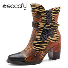 Load image into Gallery viewer, Socofy Retro Printed Cowgirl Ankle Boots Women Winter Patchwork Horsehair Genuine Leather Women Boots Shoes Woman Zipper Booties