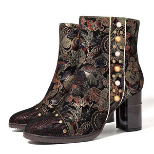 Socofy Women Vintage Flower Boots Sheep Embossed Leather Boots Women Shoes Woman Zipper High Heels 8cm Ankle Boots For Women NEW