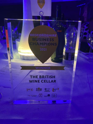 The British Wine Cellar trophy from the SME Awards