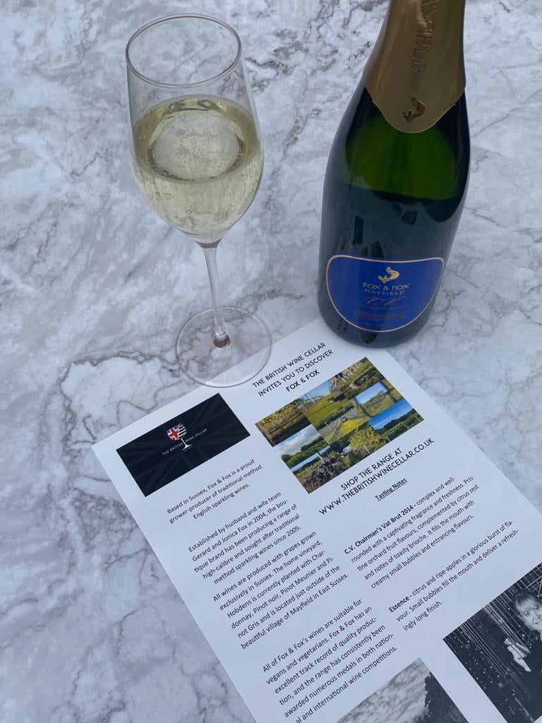 Corporate Gifts from The British Wine Cellar. English sparkling wine with tasting notes and vineyard information sheet.