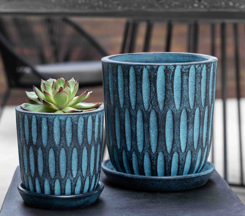 Parabola Planter - Set of 8 in Etched Blue