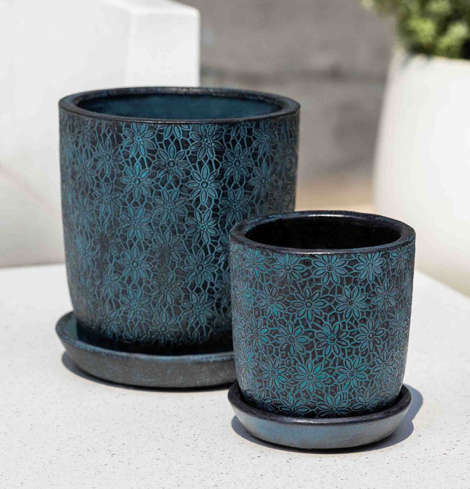 Marguerite Small Round Planter - Set of 8 in Etched Blue