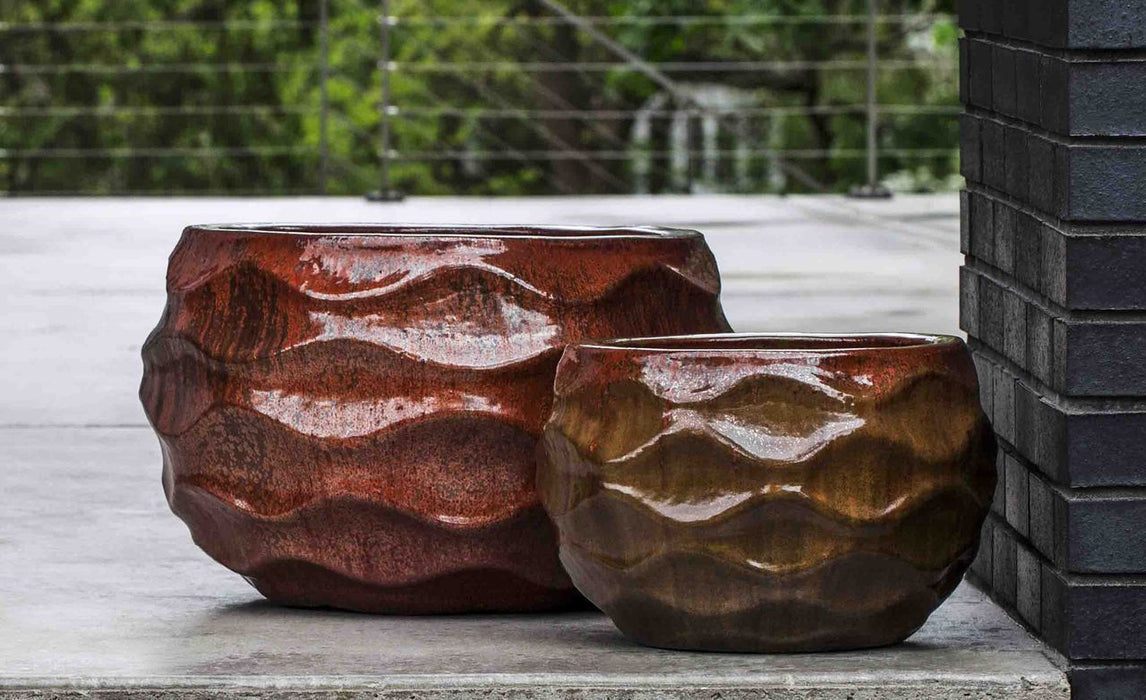 Low Rumba Planter - Set of 2 in Sunset Red