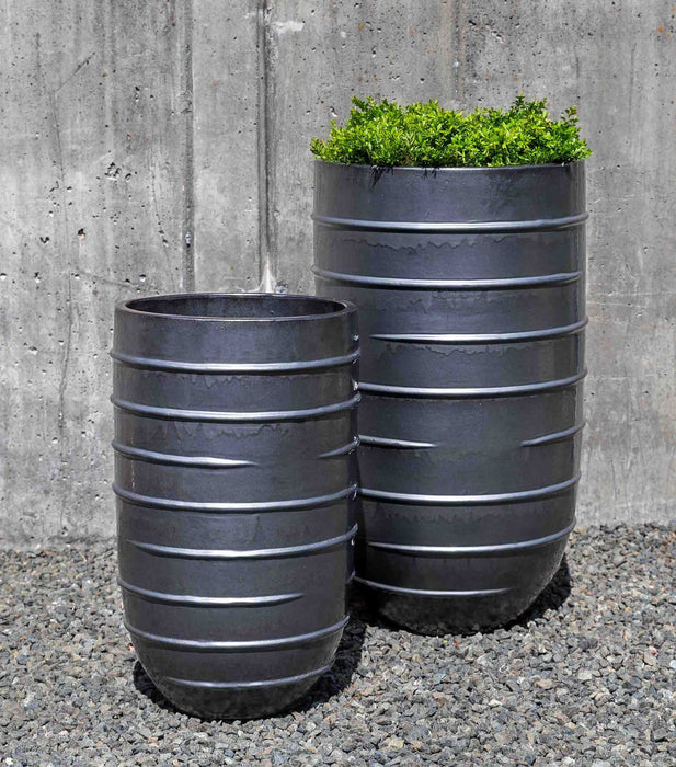 Logis Tall Planter - Set of 2 in Metal Grey