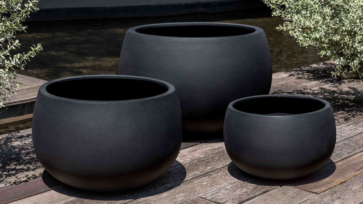 Norfolk Planter - Set of 3 in Onyx Black Lite
