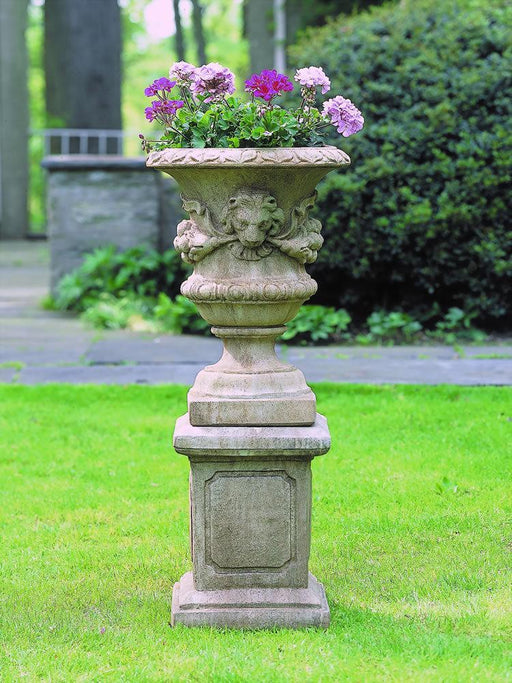Small Lion Garland Urn on Large Square Frame Kit Pedestal