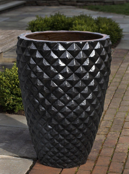 Facet Planter, Tall in Rustic Black